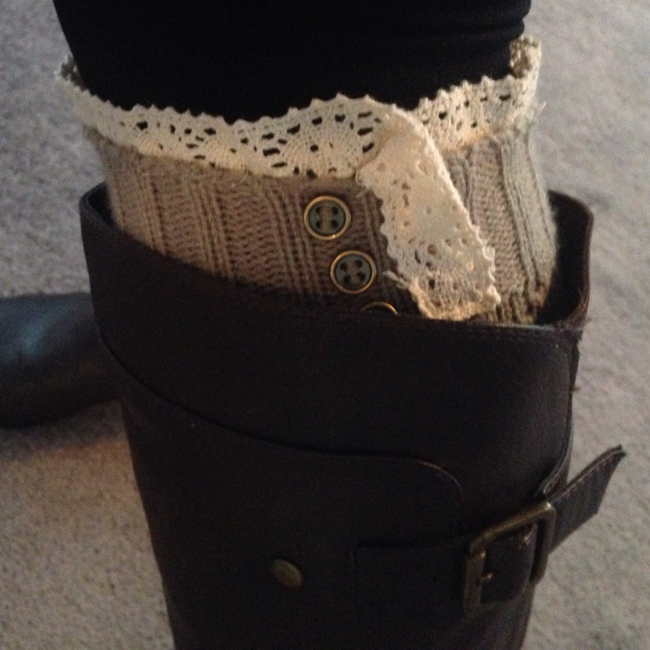 Grey knit boot cuffs with lace and button detail