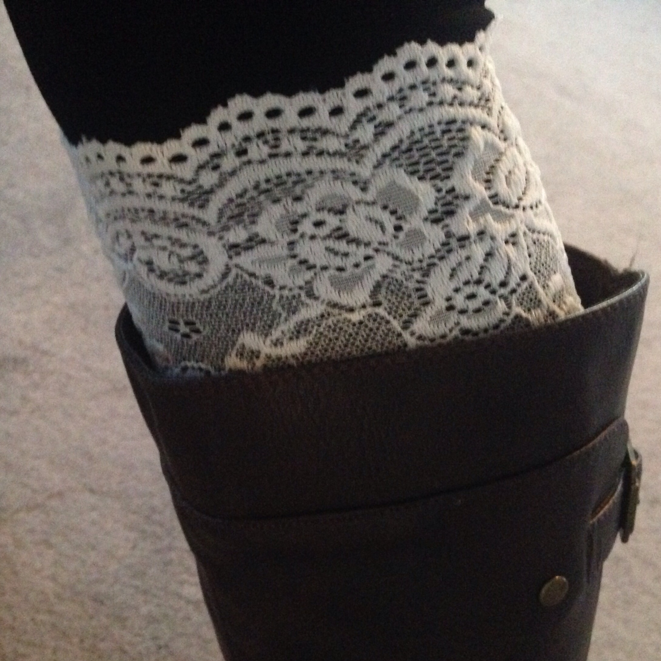 Lace boot cuffs dress up any outfit