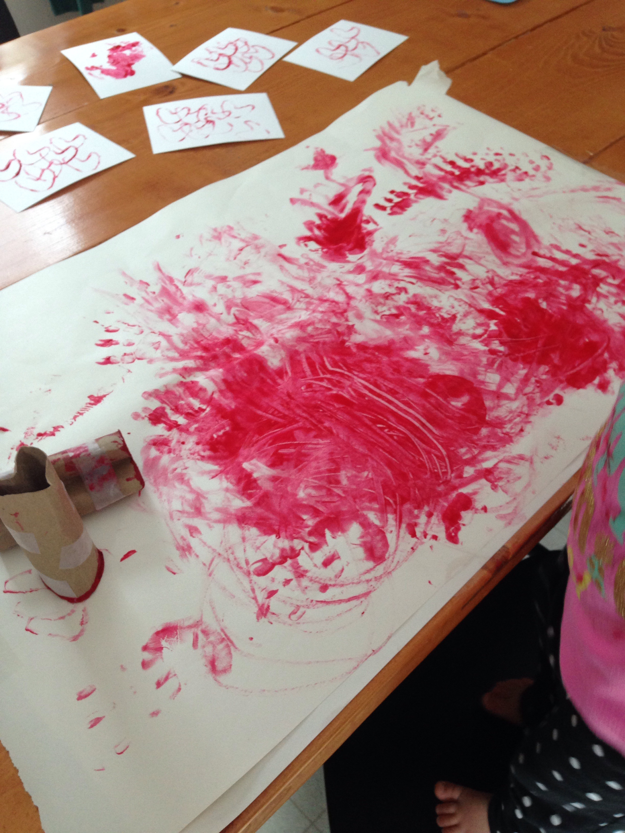Red Valentine toddler finger painting art