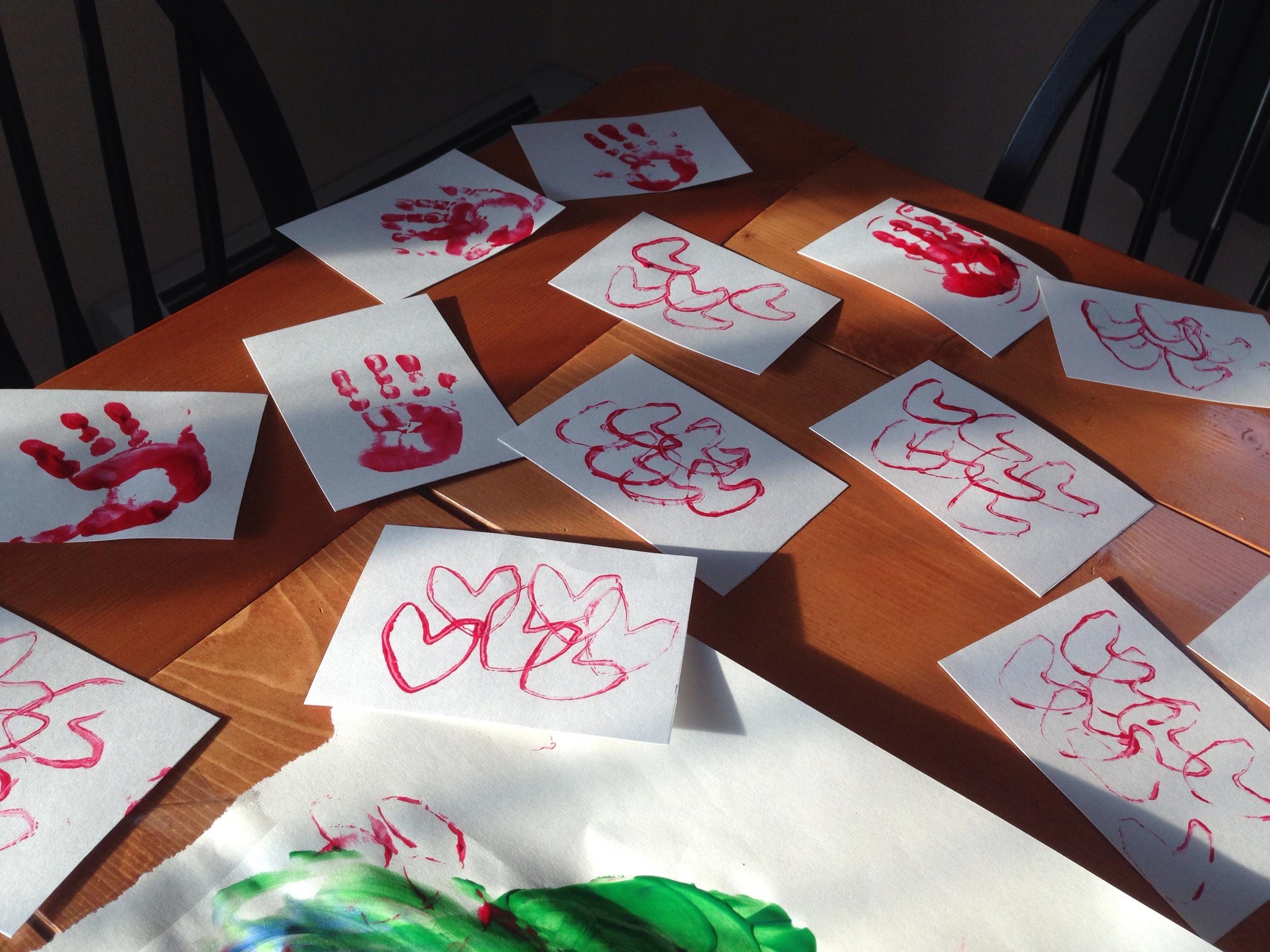 DIY toddler Valentine postcards