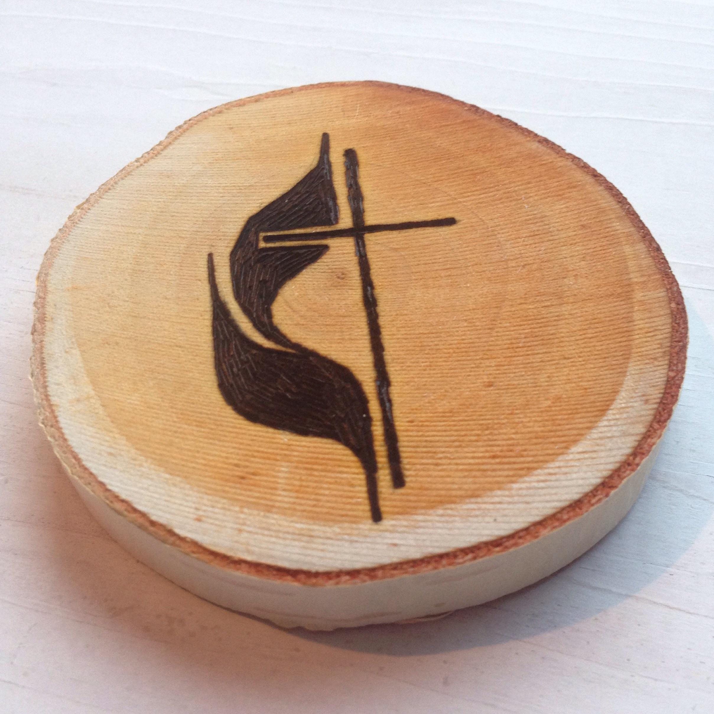 Custom Methodist Cross ornament in the making.