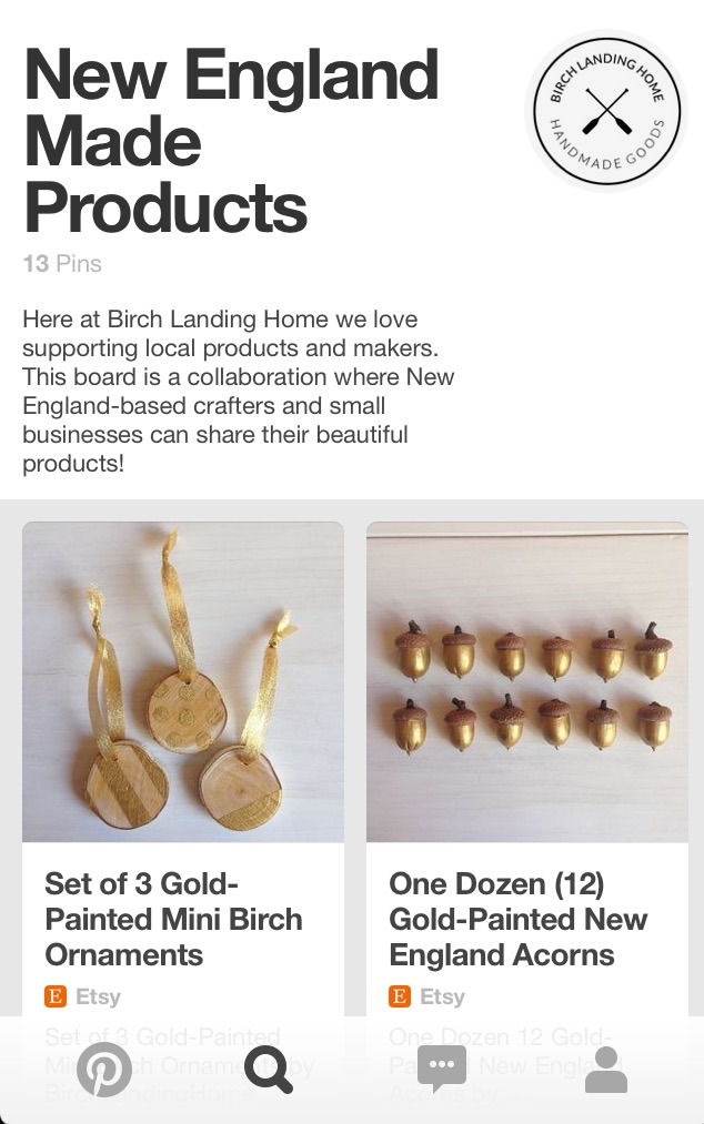 As of right now there's just my items on the board, but I can't wait to get more collaborators and see more beautiful New England-made products on here too!
