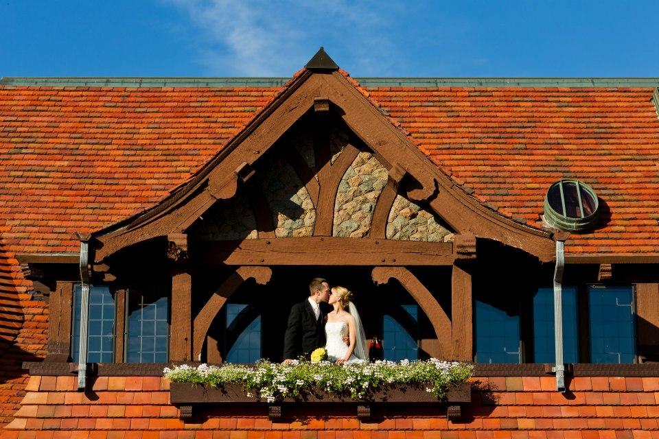 Fairytale balcony kiss on our wedding day.