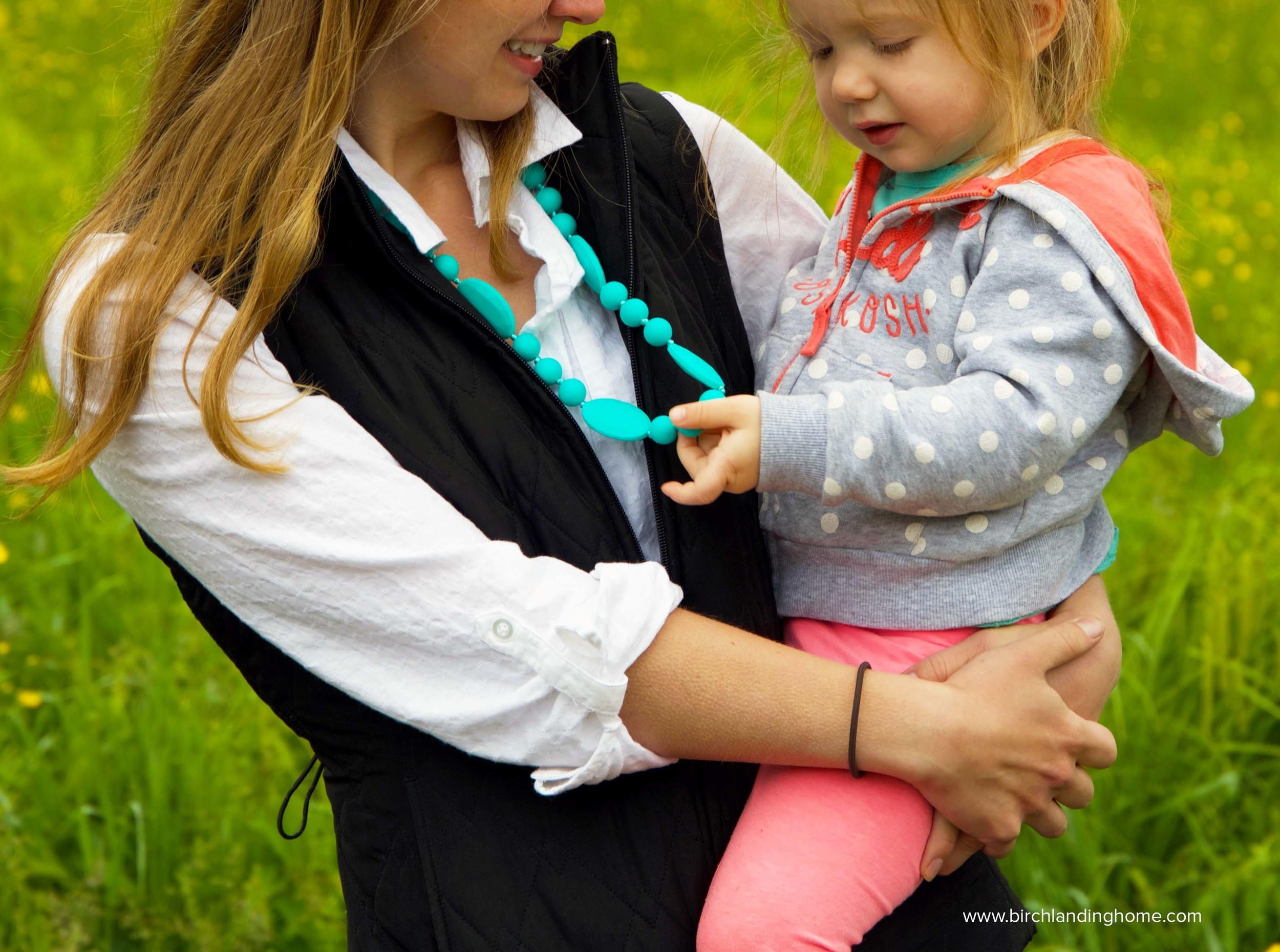 Mom Style - easy layers and a fun statement necklace (that's also a teether!)