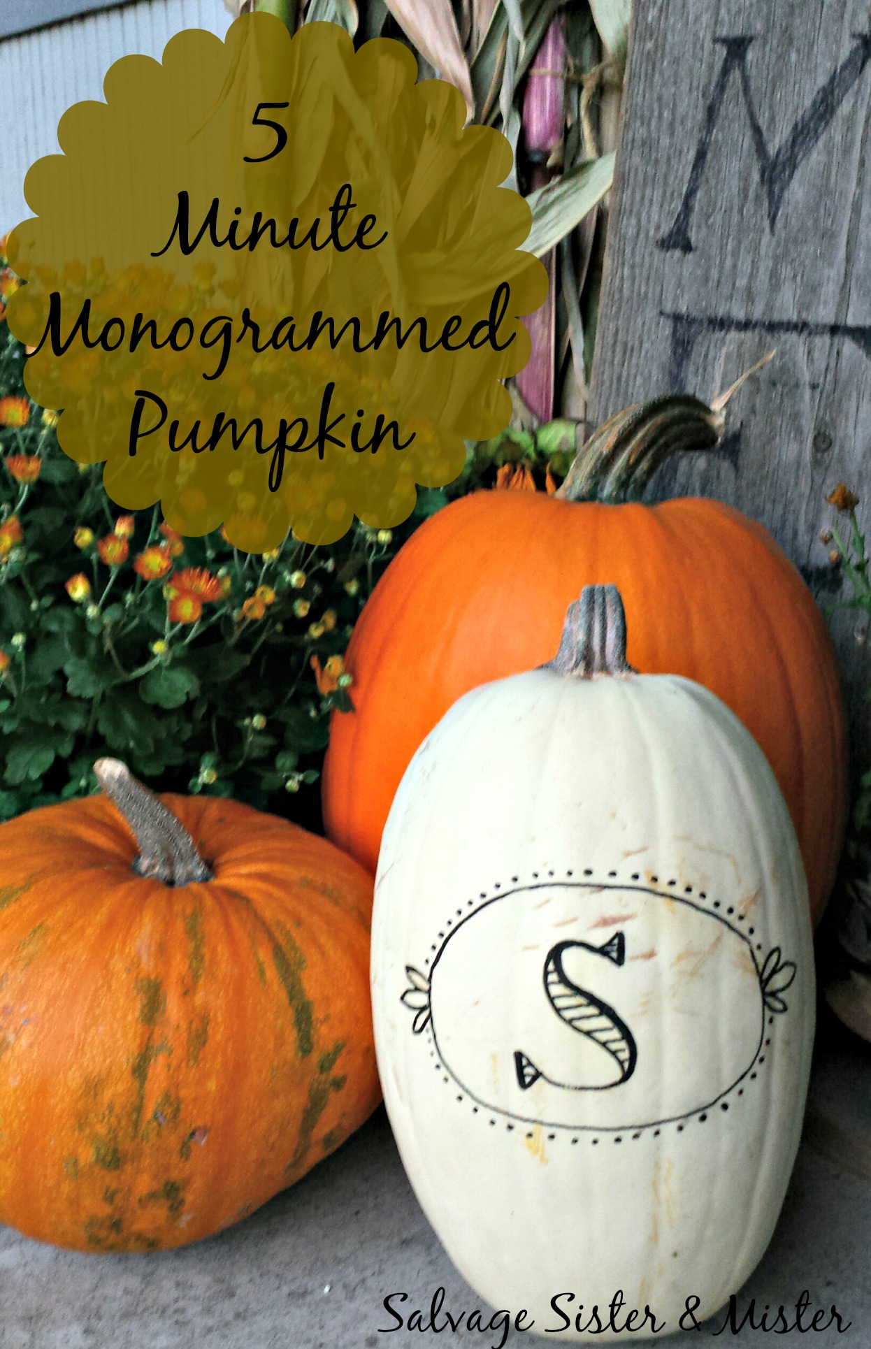 5 Minute Monogram Pumpkin