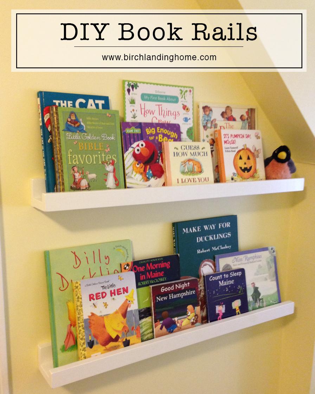 DIY Book Rails, Book Ledge, Storage.  Kids Room / Nursery
