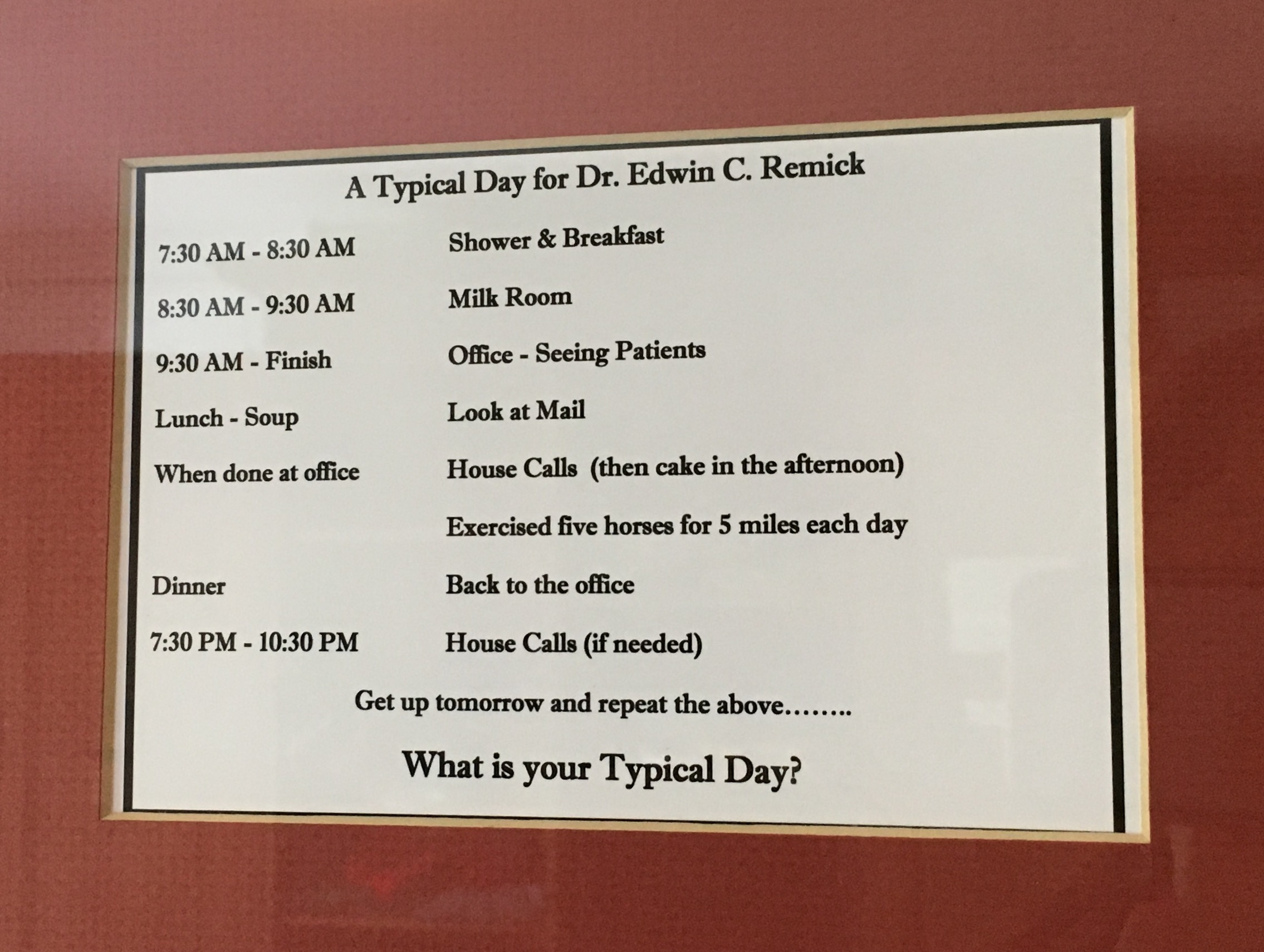 A typical day for a country doctor at Remick Farm