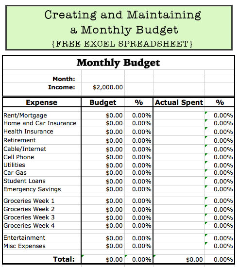 Creating and Maintaining a Monthly Budget - FREE Customizable Excel Spreadsheet