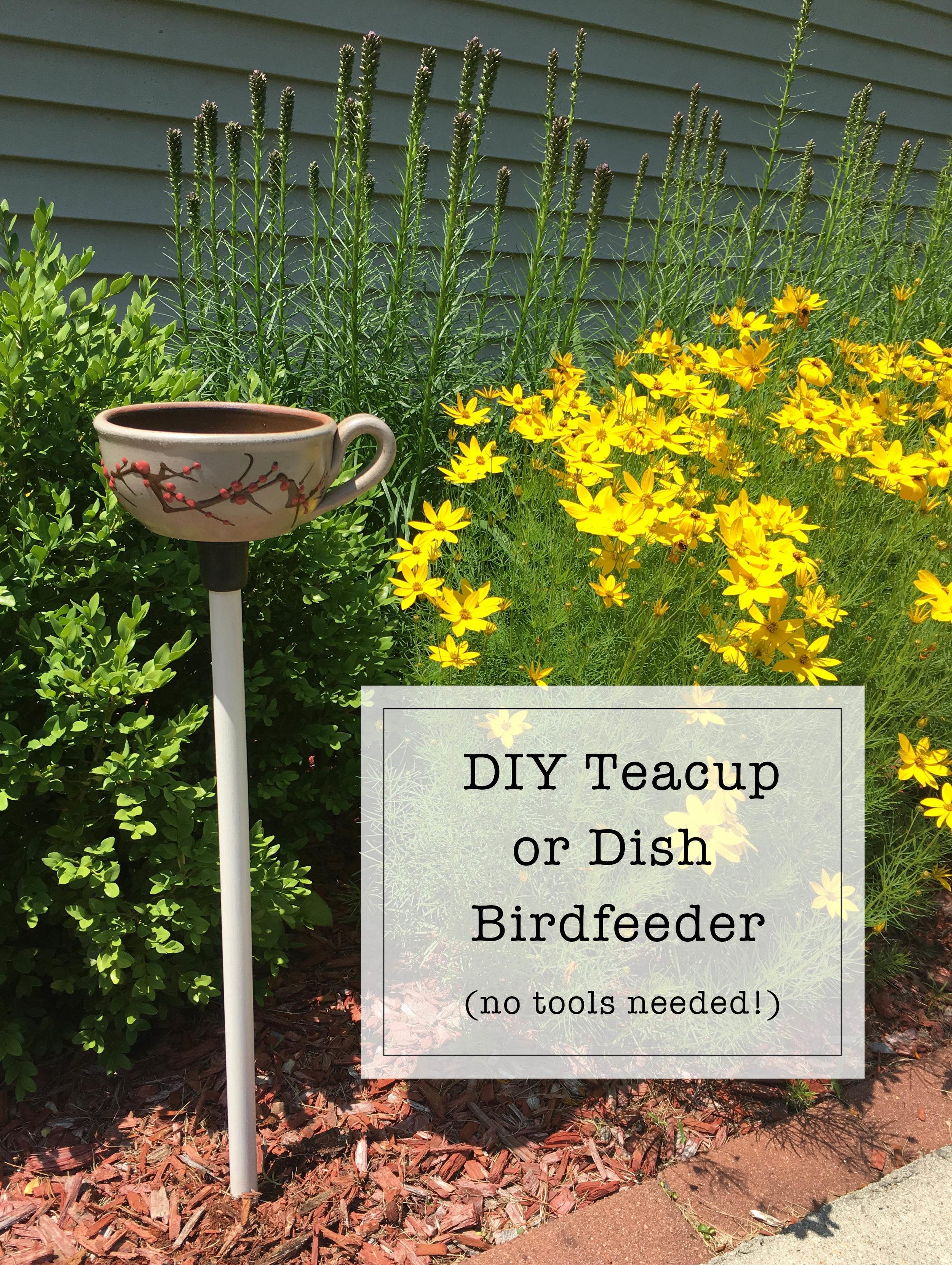 DIY Teacup or Dish Bird Feeder