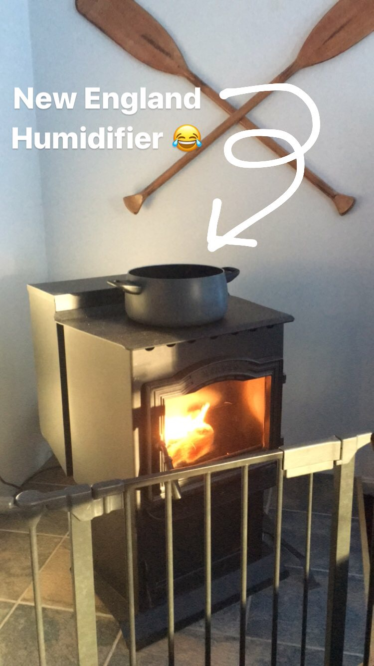New England Humidifier - a pot of water on the wood stove or radiator.