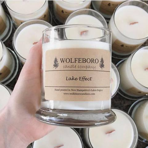 A custom-branded candle - Wolfeboro Candle Company also offers custom scent and label options for buisnesses, wedding favors, and more!