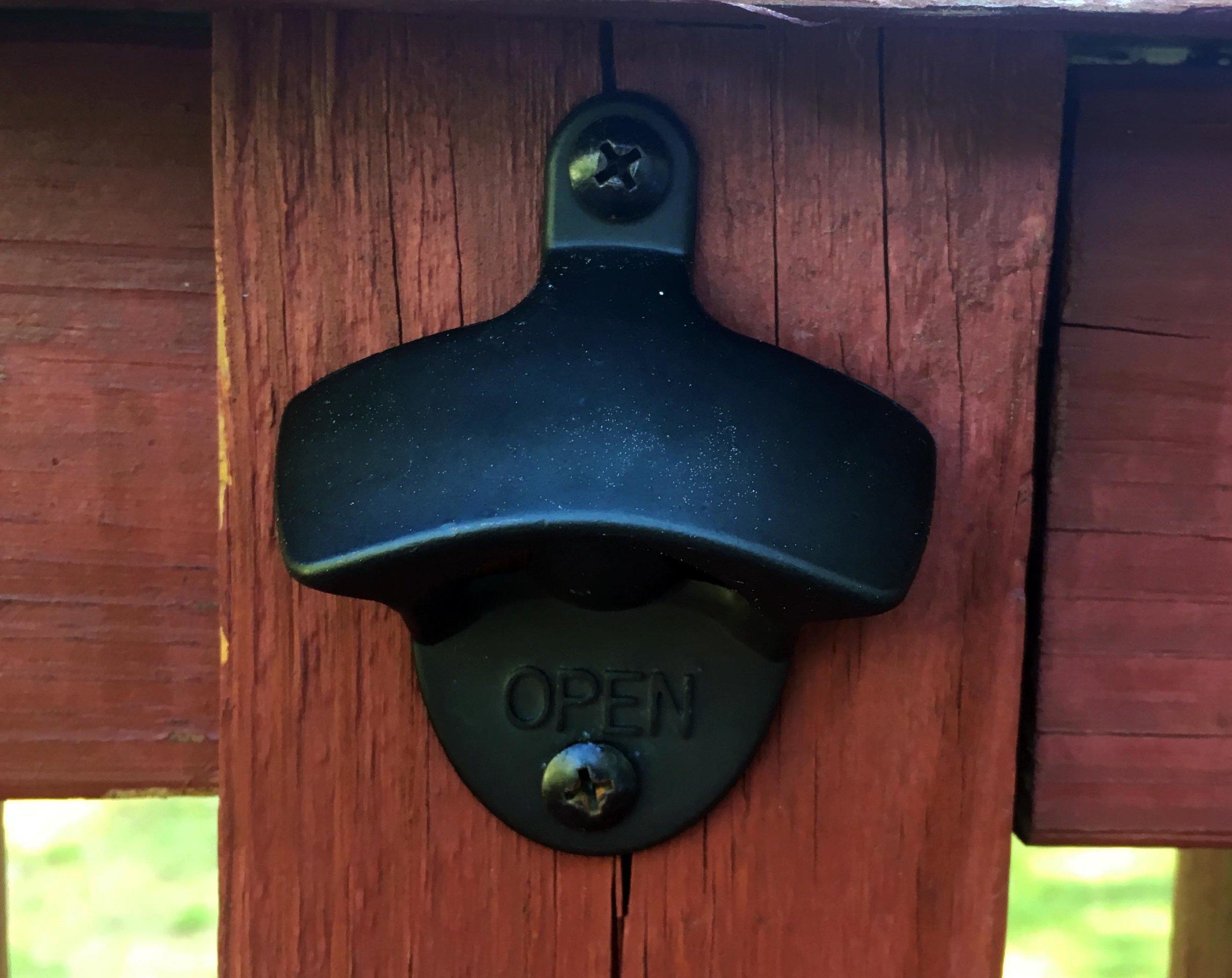 Life Hack:  Bottle Opener on Deck Railing