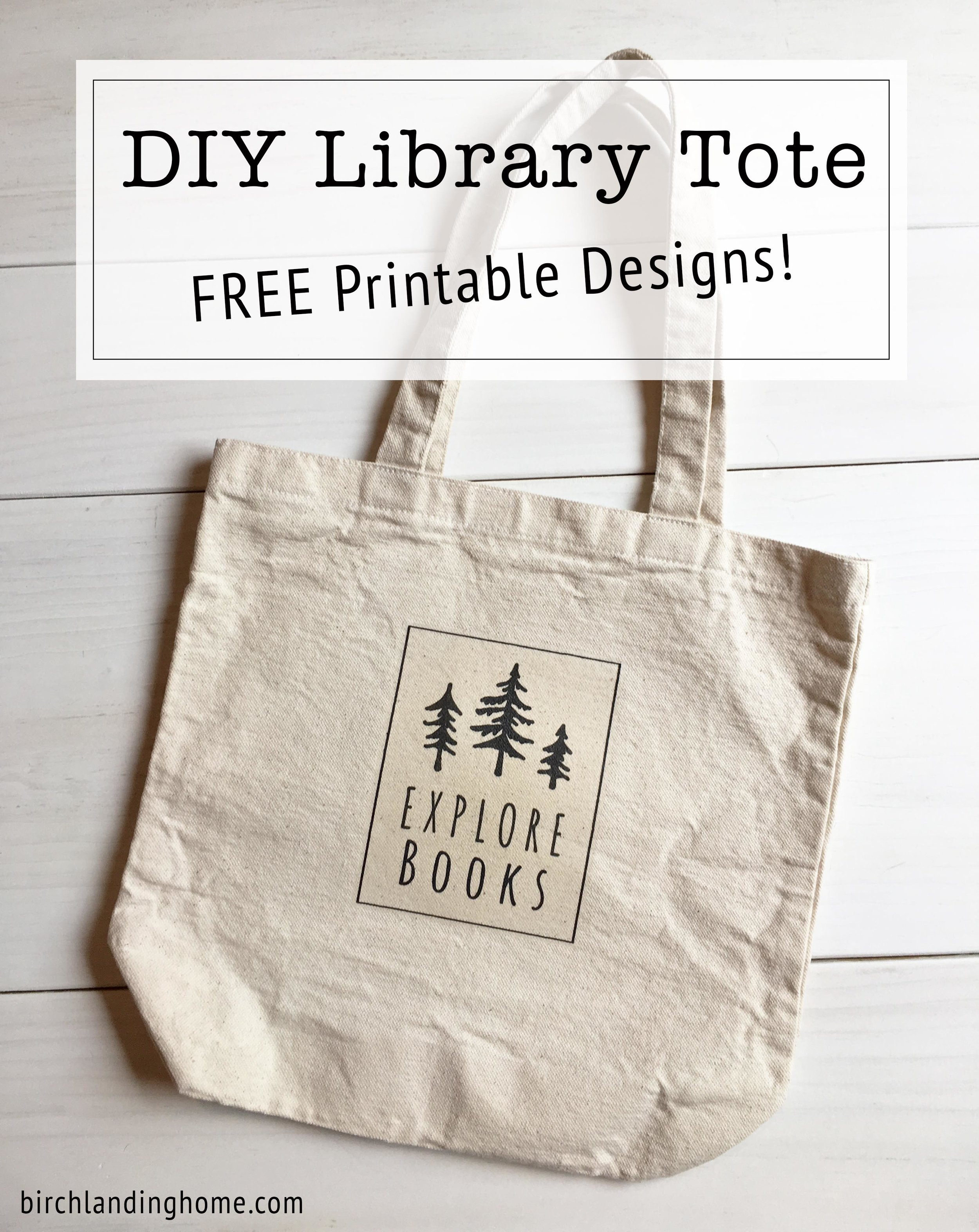 DIY Library Tote {FREE Printable Designs for Iron-On Transfer!}
