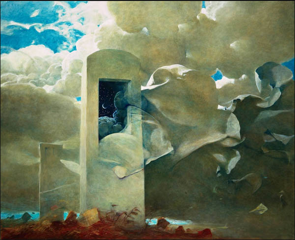 """But Faith, like a jackal, feeds among the tombs, and even from these dead doubts she gathers her most vital hope.""    Herman Melville,  Moby-Dick    (Zdzisław Beksiński,   Untitled)"