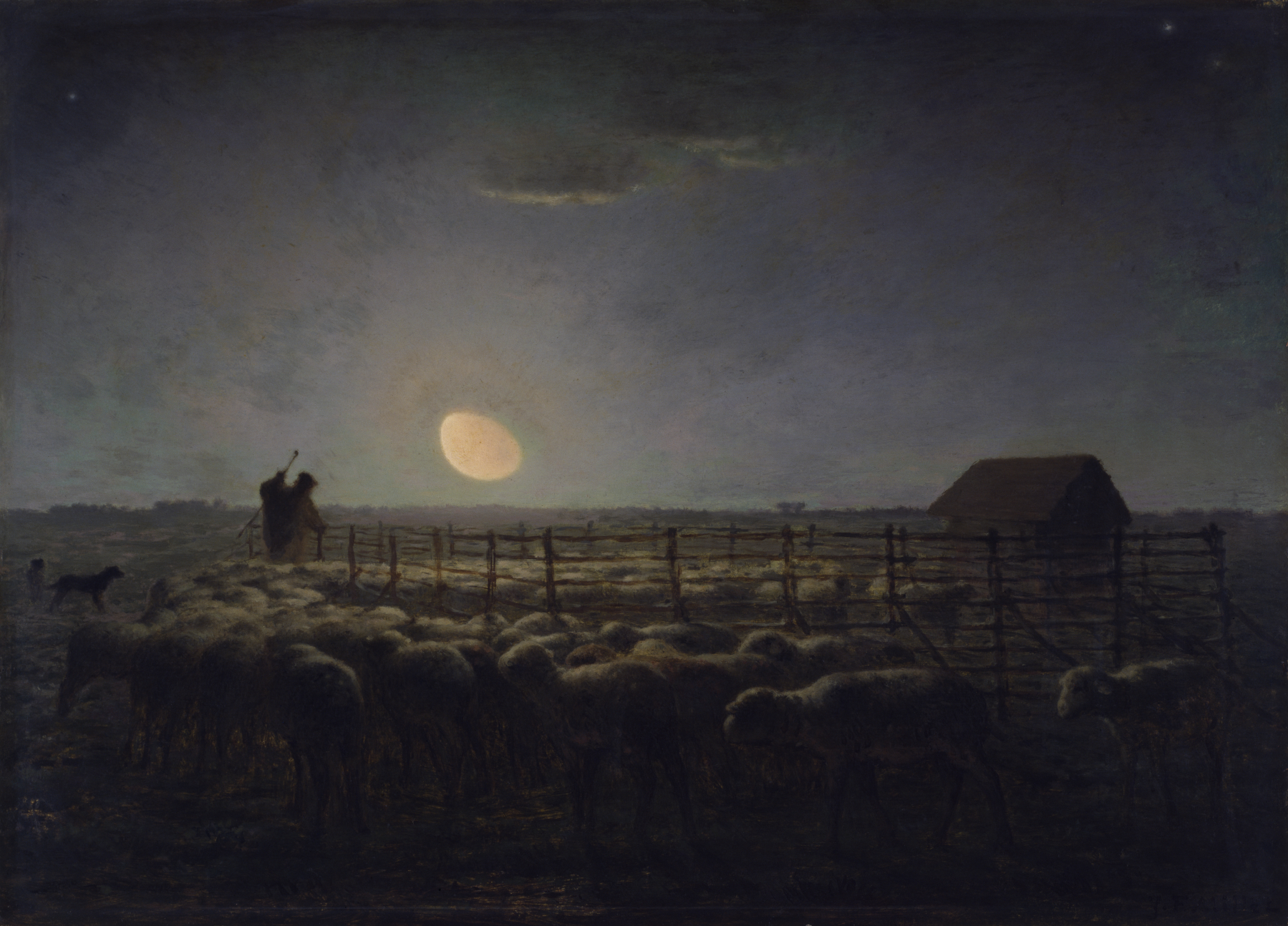 """I wondered if that was how forgiveness budded; not with the fanfare of epiphany, but with pain gathering its things, packing up, and slipping away unannounced in the middle of the night.""   Khaled Hosseini,  The Kite Runner    ( Jean-François Millet,  The Sheepfold, Moonlight )"