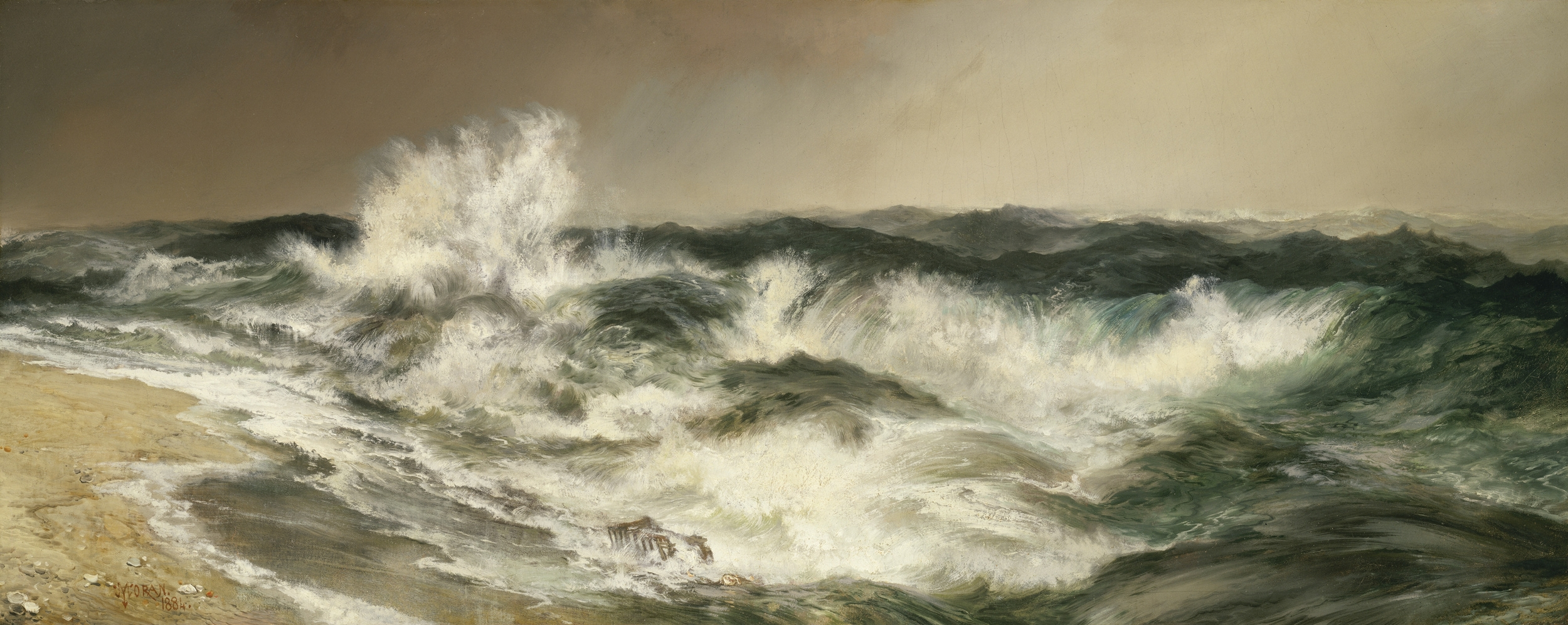 """So that the monotonous fall of the waves on the beach, which for the most part beat a measured and soothing tattoo to her thoughts and seemed consolingly to repeat over and over again as she sat with the children the words of some old cradle song, murmured by nature, 'I am guarding you—I am your support,' but at other times suddenly and unexpectedly, especially when her mind raised itself slightly from the task actually in hand, had no such kindly meaning, but like a ghostly roll of drums remorselessly beat the measure of life, made one think of the destruction of the island and its engulfment in the sea, and warned her whose day had slipped past in one quick doing after another that it was all ephemeral as a rainbow—this sound which had been obscured and concealed under the other sounds suddenly thundered hollow in her ears and made her look up with an impulse of terror.""   Virigina Woolf,  To The Lighthouse   (Thomas Moran's  The Much Resounding Sea )"