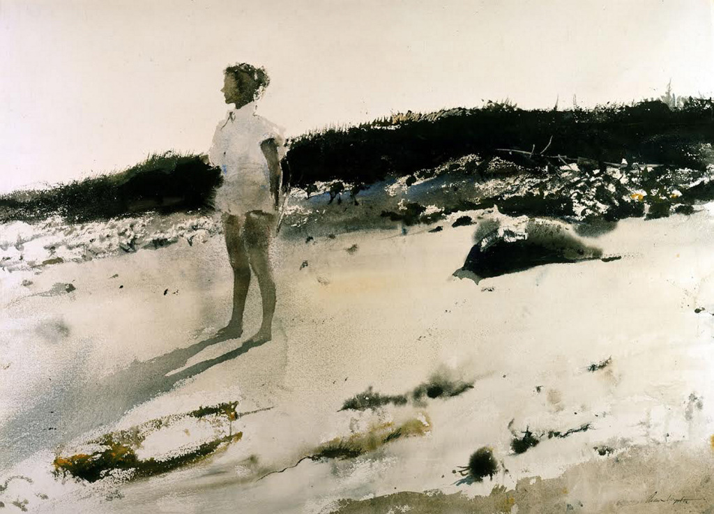 """You can hold yourself back from the sufferings of the world, that is something you are free to do and it accords with your nature, but perhaps this very holding back is the one suffering you could avoid.""   Franz Kafka,  Aphorisms   (Andrew Wyeth's  Carol on the Beach )"