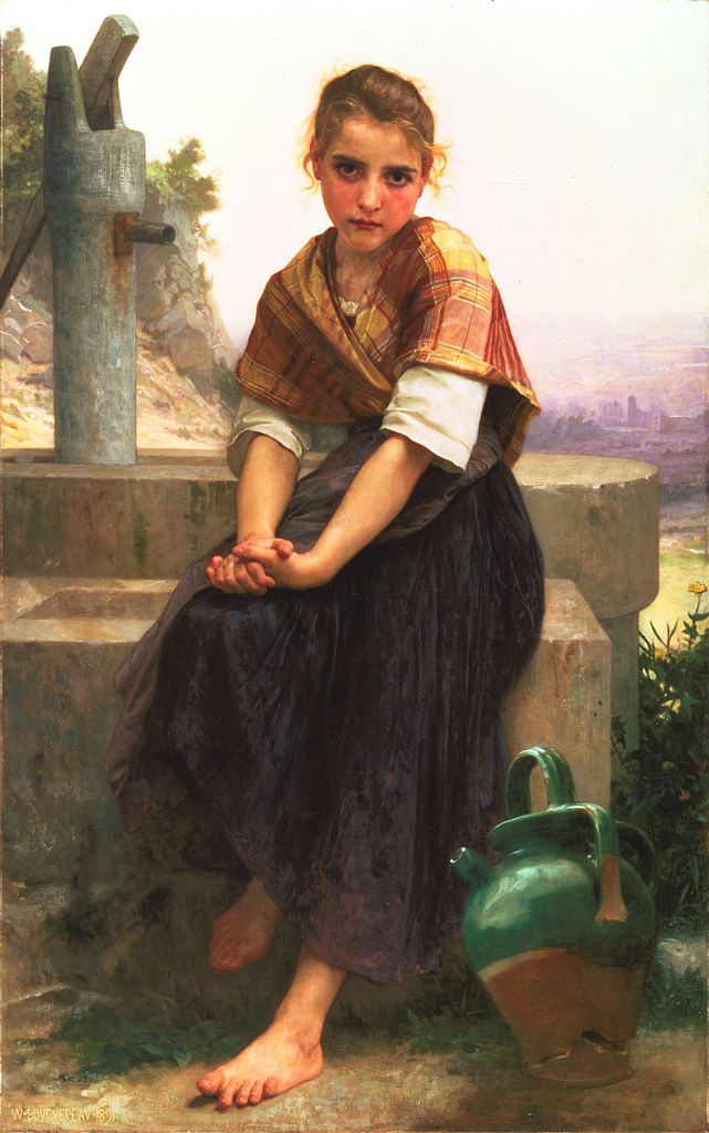 """One day she would die. There would be a funeral in the village at which Briony's dignified reticence would hint at the vastness of her sorrow. As her friends came up to murmur their condolences they would feel awed by the scale of her tragedy. She saw herself standing alone in a great arena, within a towering colosseum, watched not only by all the people she knew but by all those she would ever know, the whole cast of her life, assembled to love her in her loss.""   Ian McEwan,  Atonement   (William Adolphe Bouguereau's  The Broken Pitcher )"