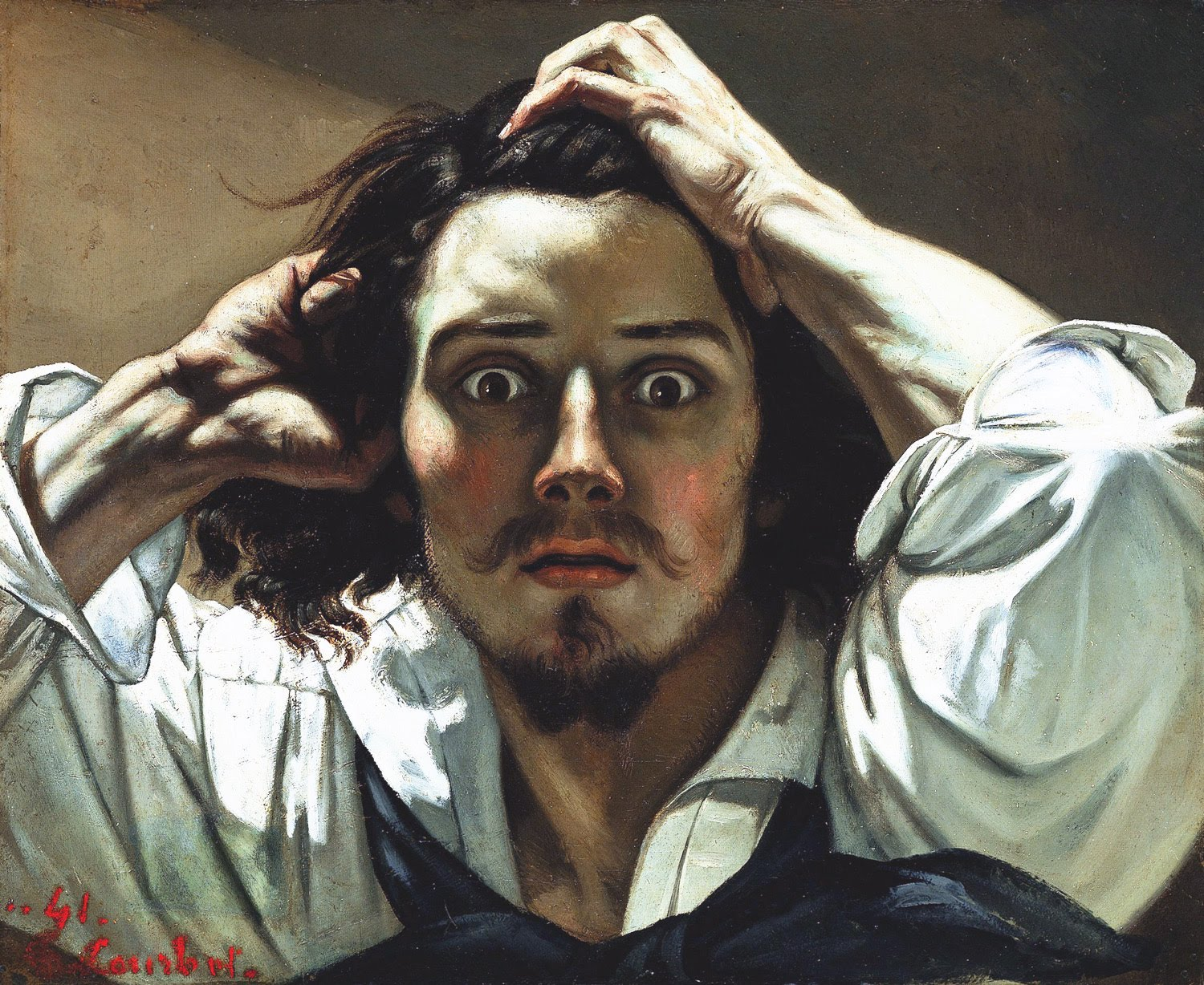 """""""When you turn the corner    And you run into  yourself     Then you know that you have turned    All the corners that are left.""""   Langston Hughes,  """"Final Curve""""   (Gustave Courbet,  The Desperate Man, Self-Portrait )"""