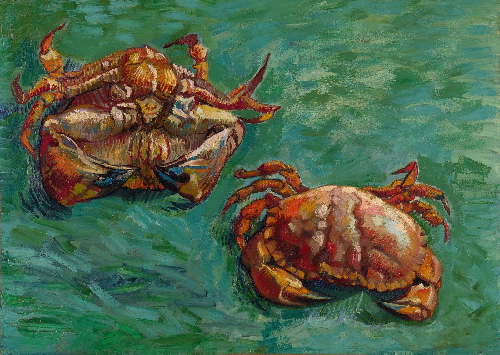 """The deepest problem: of the immortality of the crab, is that a soul it has, a little soul in fact ...    That if the crab dies entirely in its totality with it we all die for all of eternity.""   José Emilio Pacheco, ""The Immortality of the Crab""  (Van Gogh's  Two Crabs )"