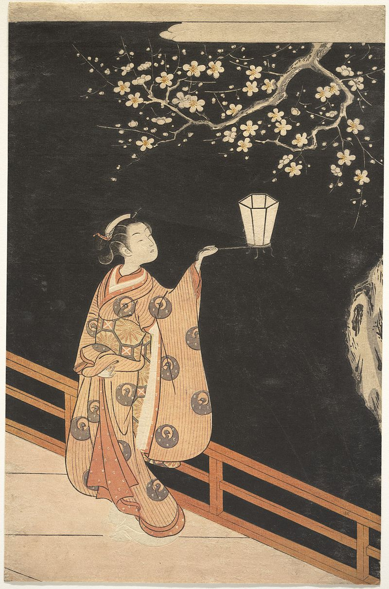 """The apparition of these faces in the crowd;    Petals on a wet, black bough.""   Ezra Pound,  In a Station of the Metro   (Suzuki Harunobu's  Woman Admiring Plum Blossoms at Night )"