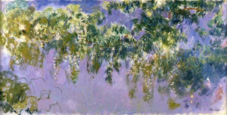 """Shard by shard we are released from the tyranny of so-called time. A curtain of purple wisteria partially conceals the entrance to a familiar garden... In a wink, a lifetime, we pass through the infinite movements of a silent overture.""   Patti Smith,  M Train   (Claude Monet's  Wisteria )"
