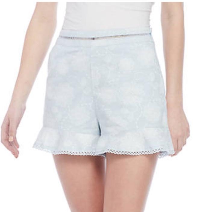 J.O.A. Printed Ruffle Hem Shorts