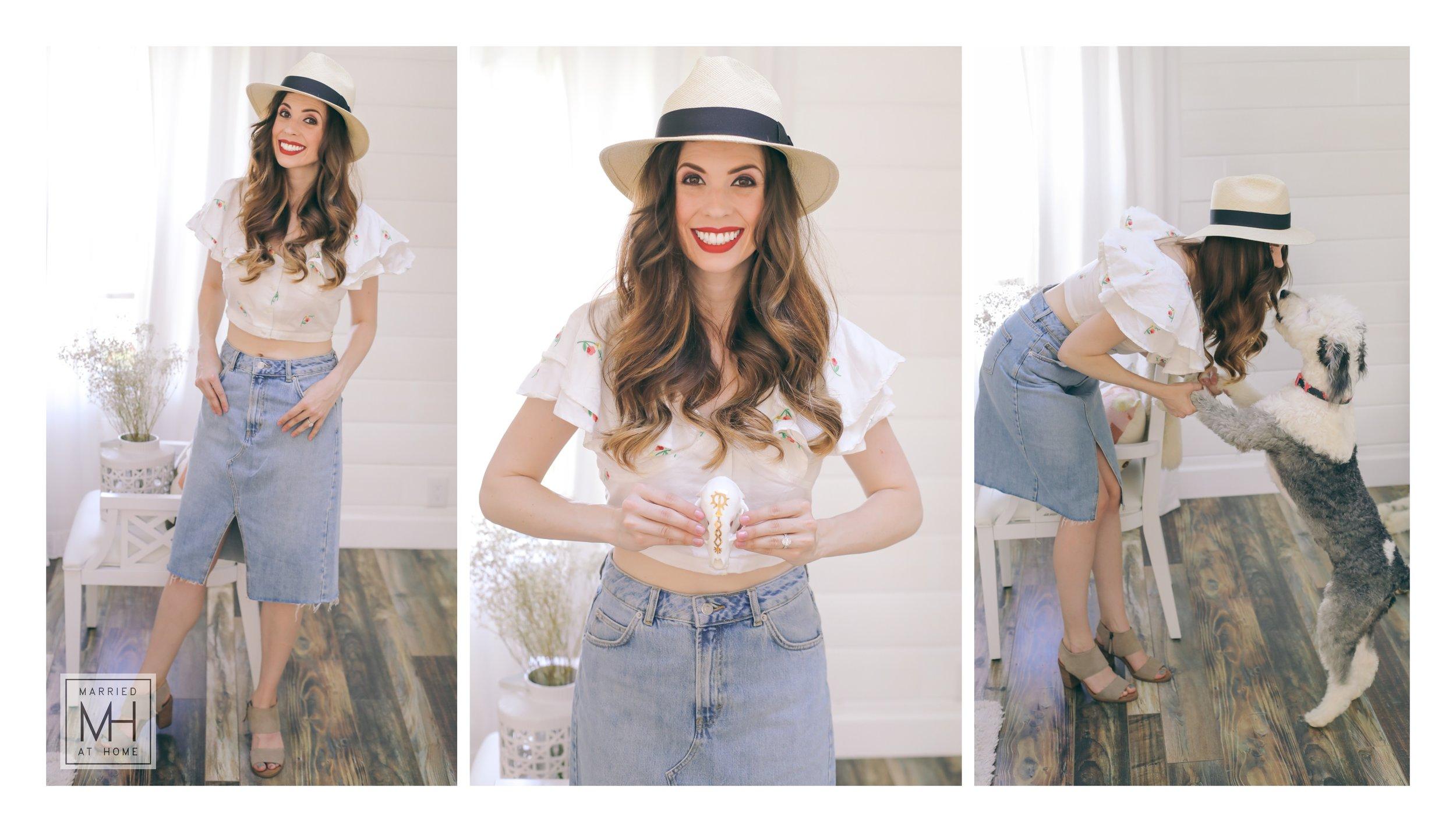 Hat:   Scala Panama Safari Hat, Natural  |  Top:   Topshop   Embroidered Frill Floral Croptop  |  Skirt:   Topshop Denim Midi Skirt  |  Shoes:   TOMS Majorca Cutout Sandals in Desert Suede