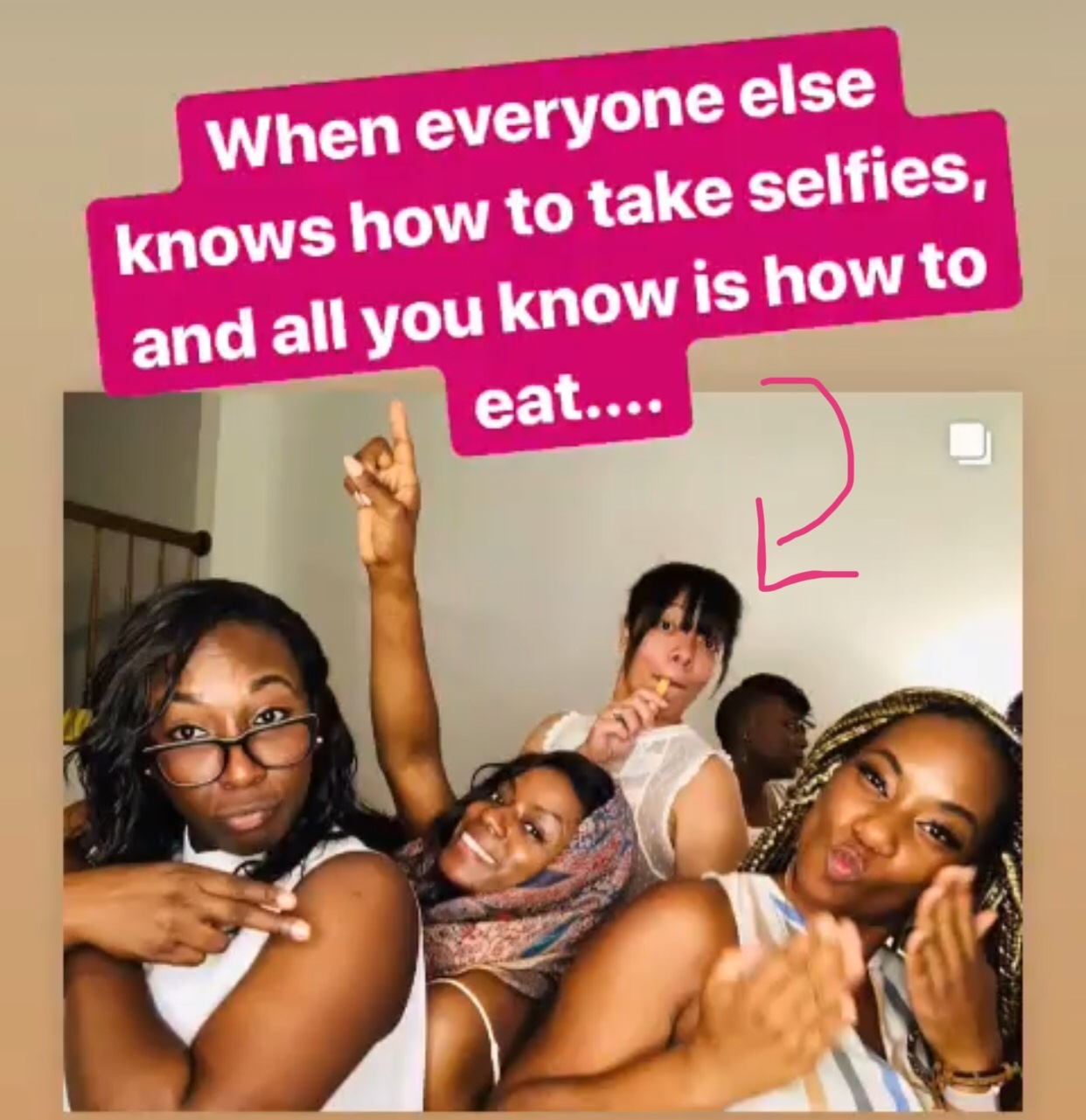 Yep, this totally not acceptable pic is from  my Instagram feed . That's me with a breadstick, while my friends are striking a cute pose. 😆