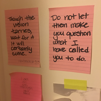 Notes to myself on the back of my office door.