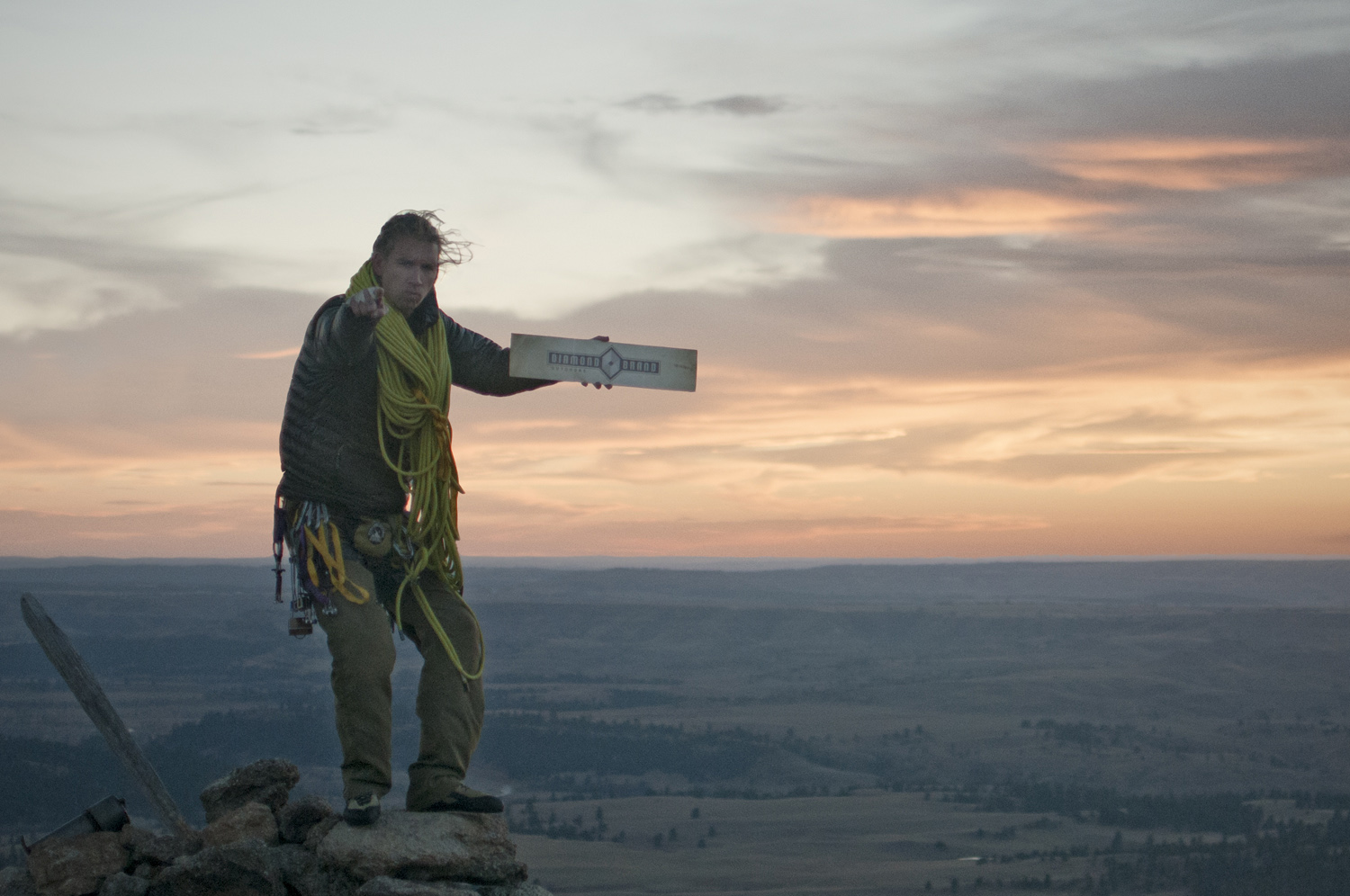 """There was suppose to be sign on the summit saying """"No Climbing Above This Point"""" which Bryson was going to stand on top of, but all that remained was the post (leaning to the bottom-left corner), so this was the sunset image we ended up gettingfor Diamond Brand, based out of North Carolina."""