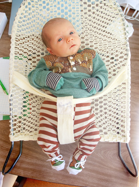 Merino Forest jumper with Rust and Cream leggings