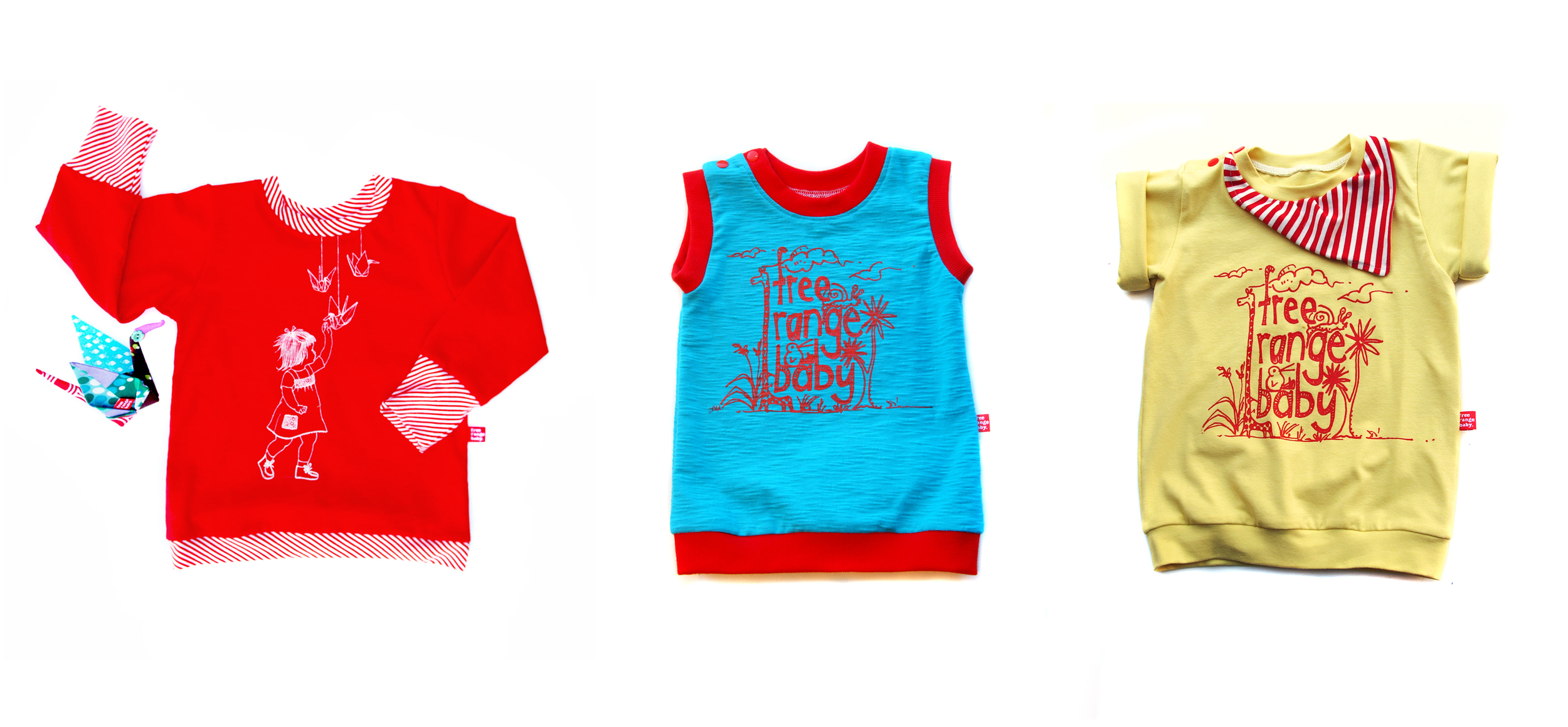 Screen printed long and short tee's available in a rainbow of colours.