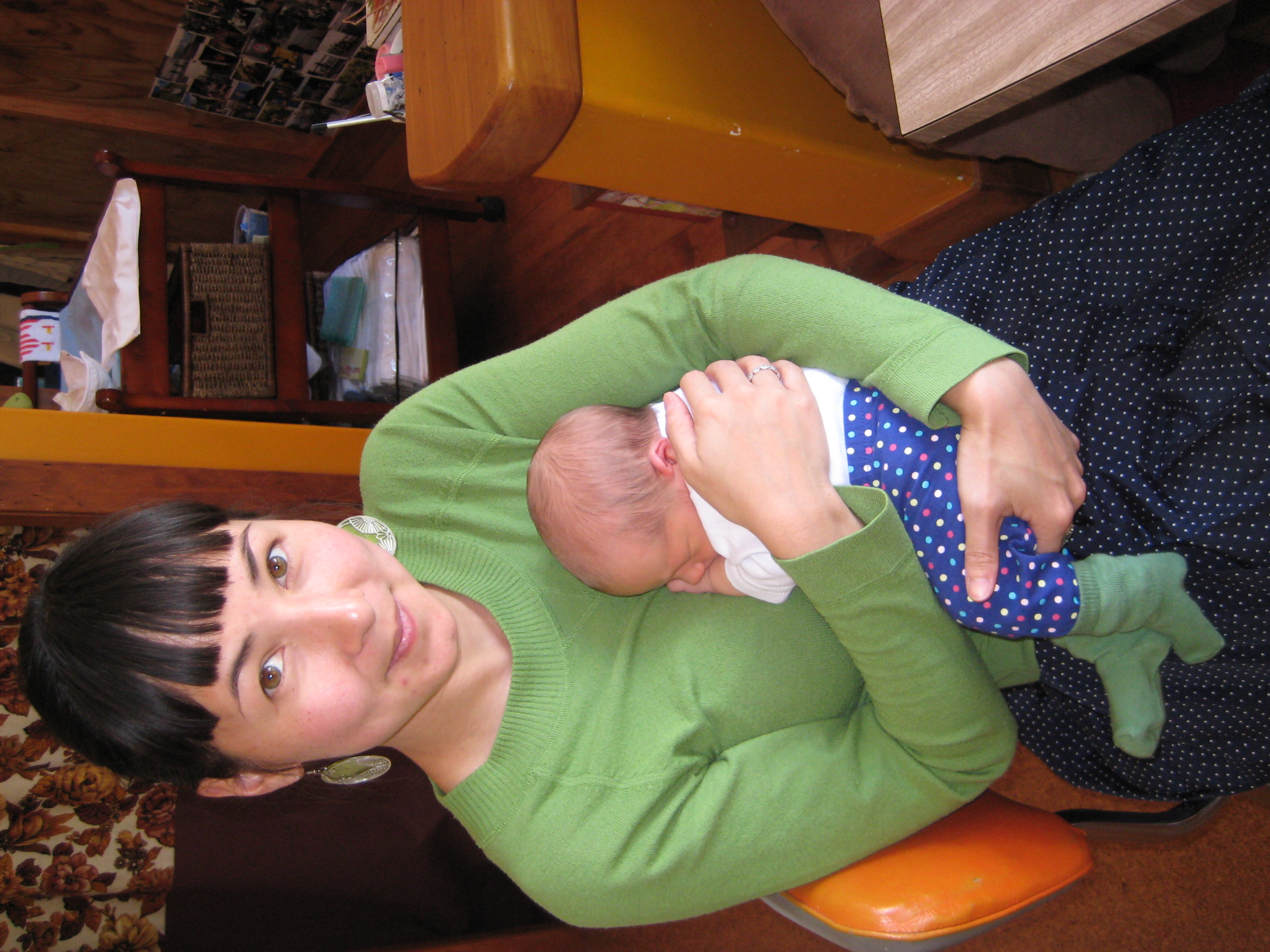 1 week old: Possibly Neko's earliest fashionable moment, accidentally matching his very stylish Aunty Gen. I loved those polka dot pants, probably meant for a girl, but so cute on a tiny guy too.