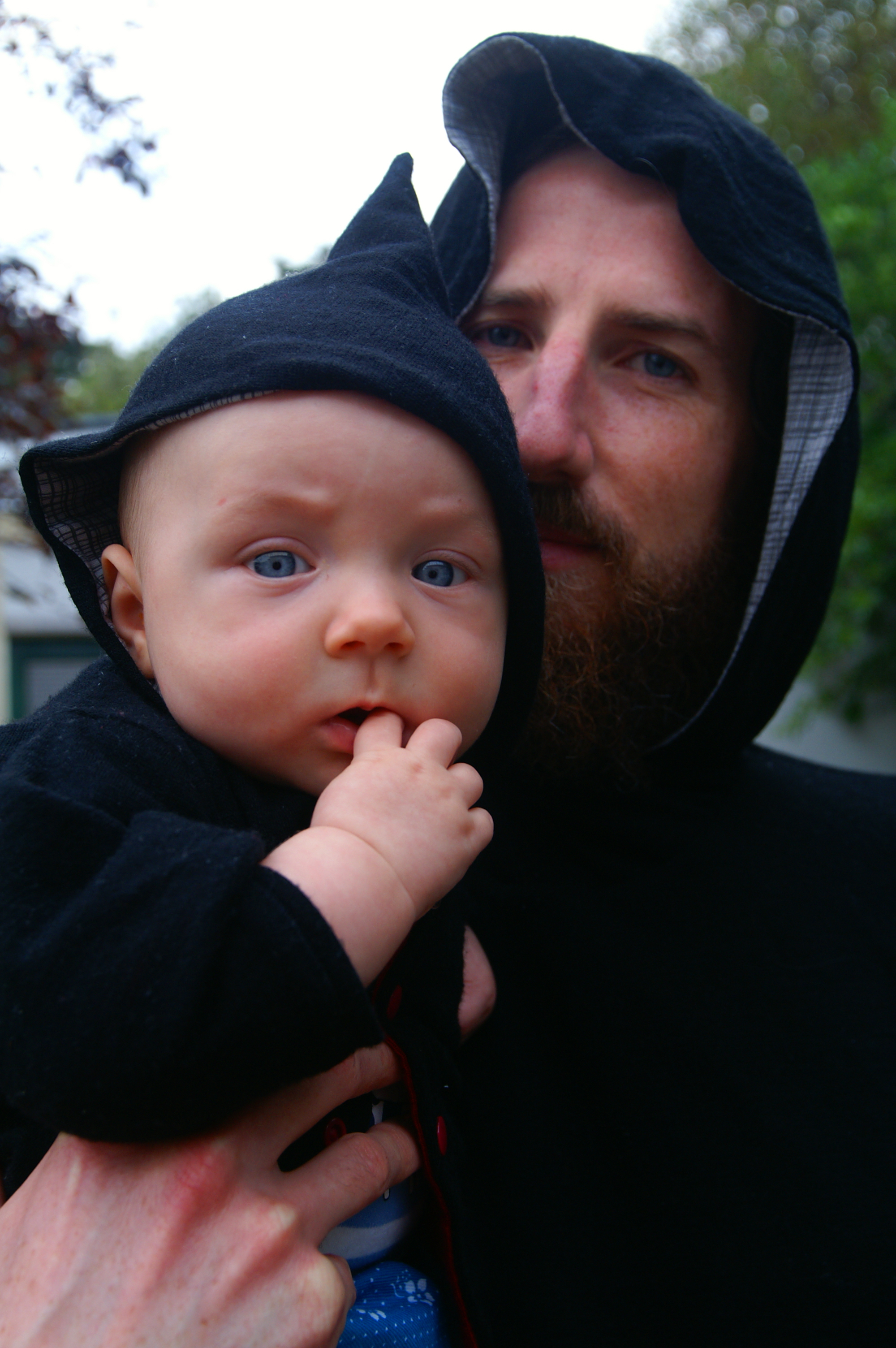 For Rich's birthday when I was 6 months pregnant I made him a pile of clothes, with mini versions. Here are my two boys in their matching black merino hoodies. I love black on babies, I'll definitely be doing more of it.