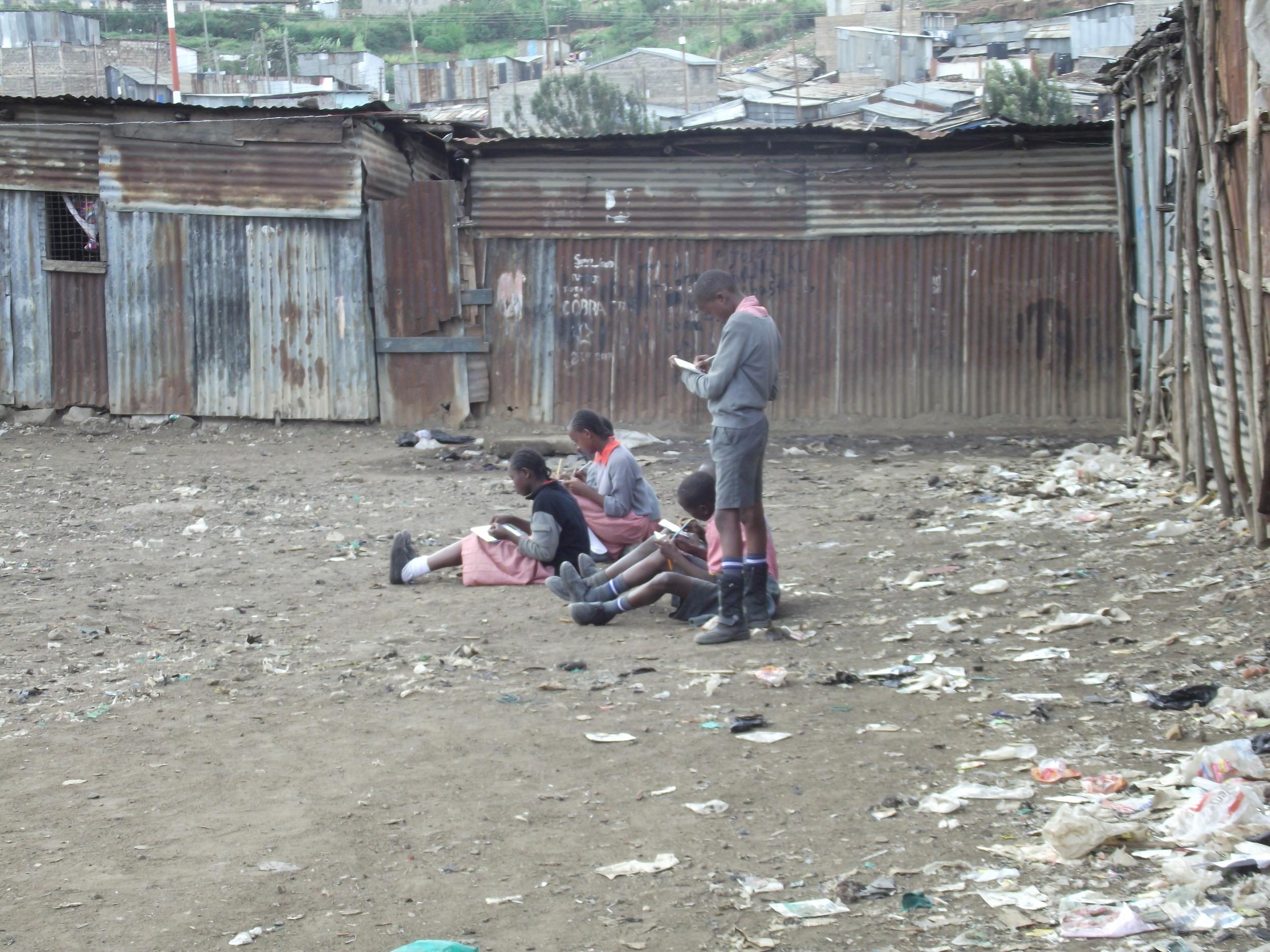 Art class sketching in Mathare.JPG