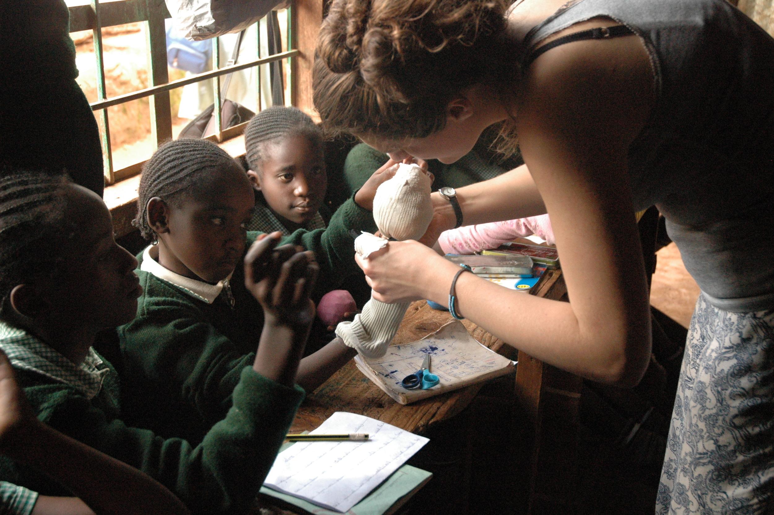 Drama - art - puppet making Kibera.JPG