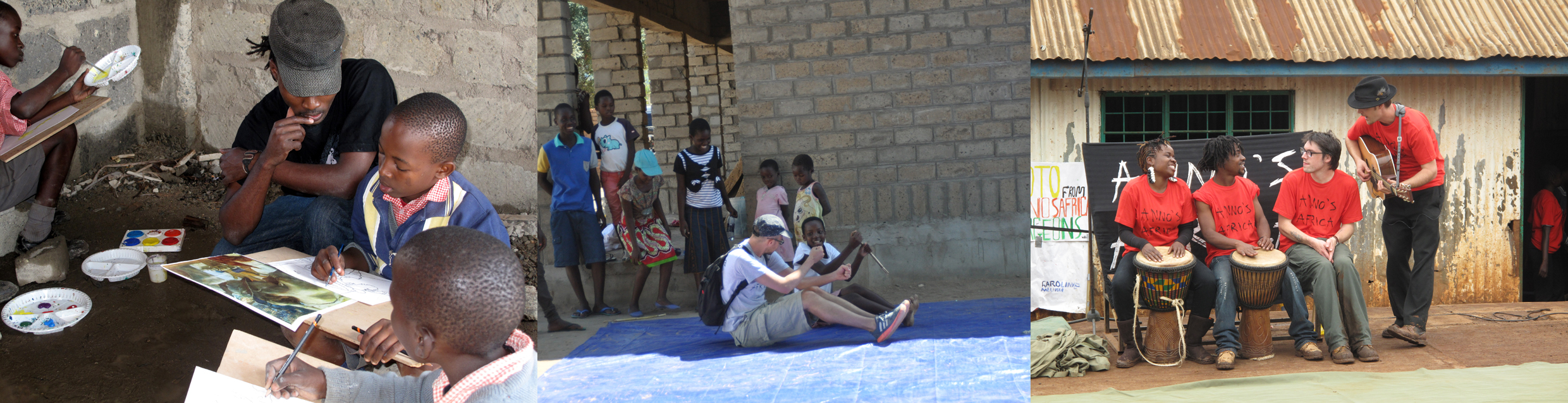 From left to right: Dickson teaches art in mathare; jarek teaches mime in usisya, malawi; and music teachers gareth and billy work with our kenyan trainers lulu and melisa