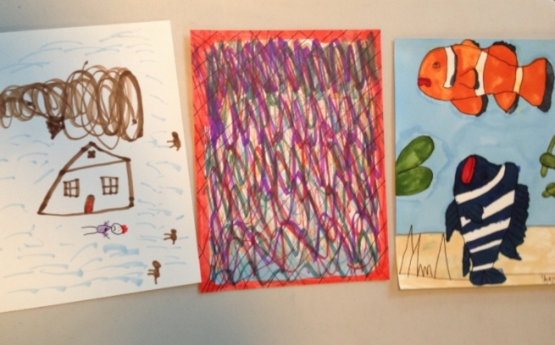 Artwork all done during the same period by our student Shayn, 7 1/2 yrs old, which shows examples of symbolic, abstract and realistic styles of art.