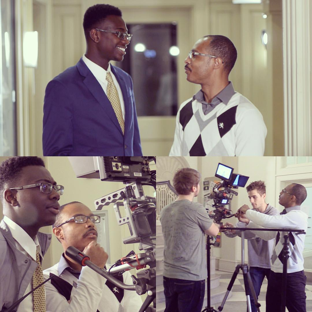 """President of ID Production Studios Isaac F. Davis (Left) and Director of Short Film Initiative Hassaan Abdus-Saboor (Right) on the set of """"Untied Promo Video"""" in Tucker Hall at the College of William and Mary."""