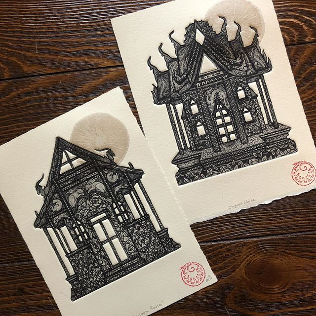 These little spirit houses are both now available on my website! These two are from my very special trip to @incahootspressandresidency, and are each available in a limited edition of 10 ❤️ the chine-collé sun rising over each house is letterpress printed from mushroom spore prints! This little house can serve as a home for the spirits in your house, and will discourage them from causing mischief ✨ I'd also encourage you to place offerings near it! Fun! I will print another edition of these sometime soon, but the mushroom sun will remain unique to these 20 prints so get yours now! They are full of the beautiful energy of Petaluma ❤️ (link in bio!) #etching #printmaking #intaglio #engraving #metalwork #shapedplate #chinecolle #chinecollé #drawing #illustration #print
