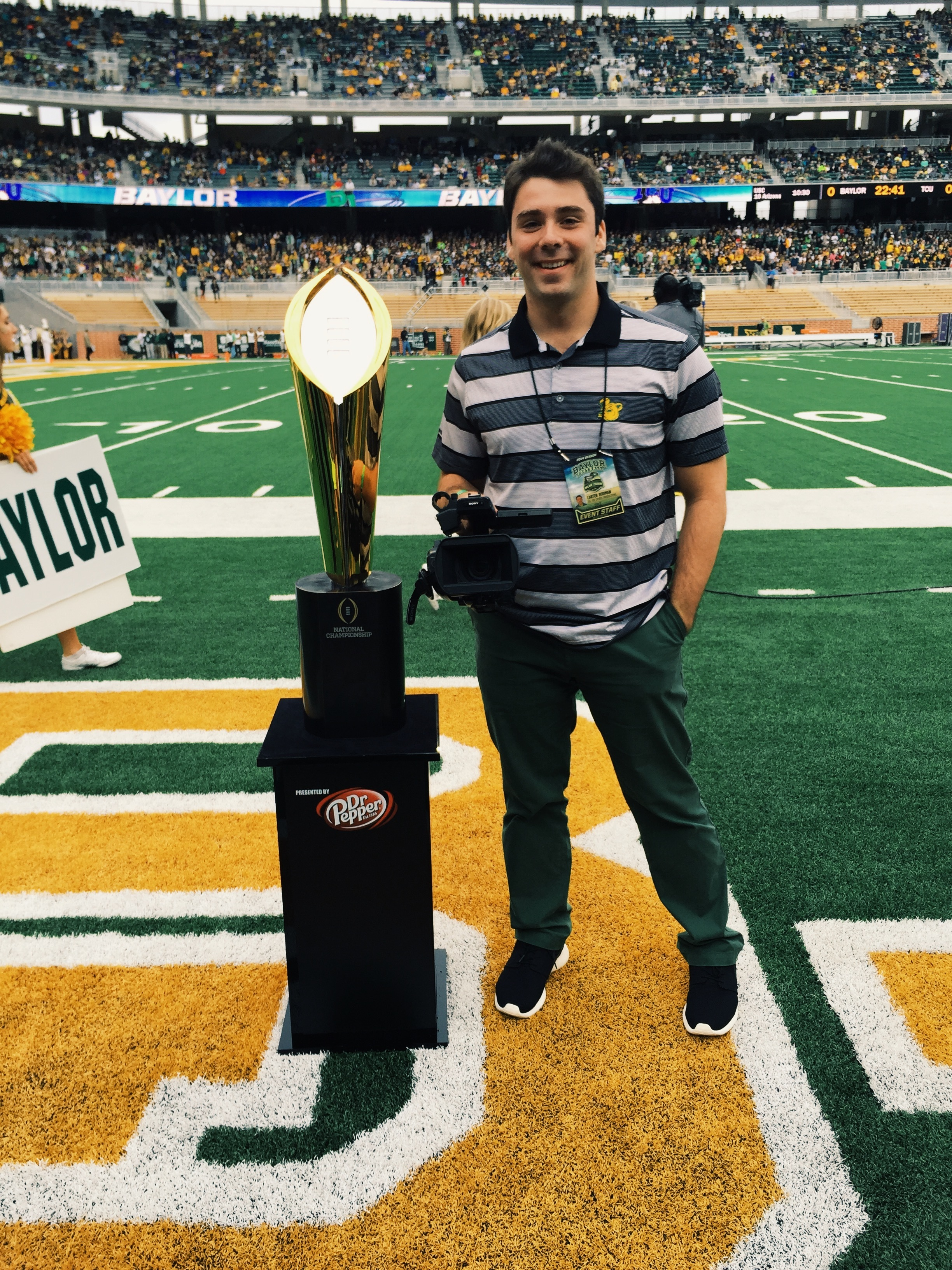 Carter with The College Football Playoff National Championship trophy. He thinks 2017 is the year Baylor will take home its first national title.