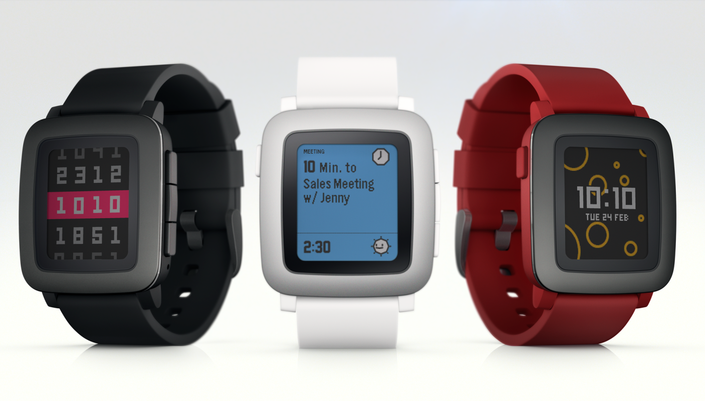 The new Pebble Time is the first smart watch from the companyto feature a color e-ink display. Credit: Pebble