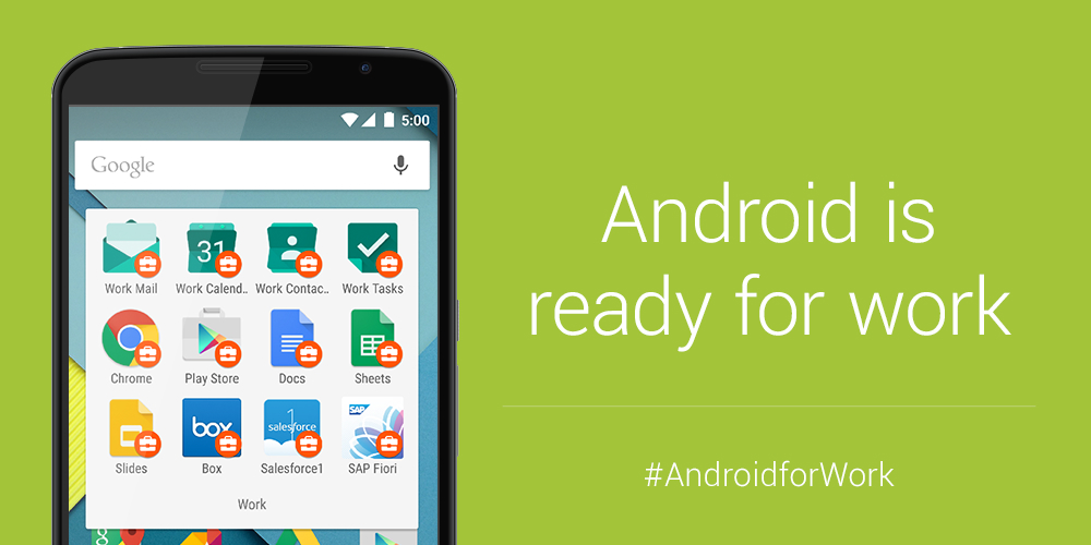 """With """"Android for Work,"""" work-related apps are marked with a special badge, Credit: Google"""