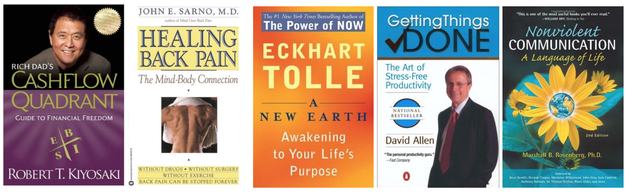 Finances, health, consciousness, organization and compassion: my top 5.