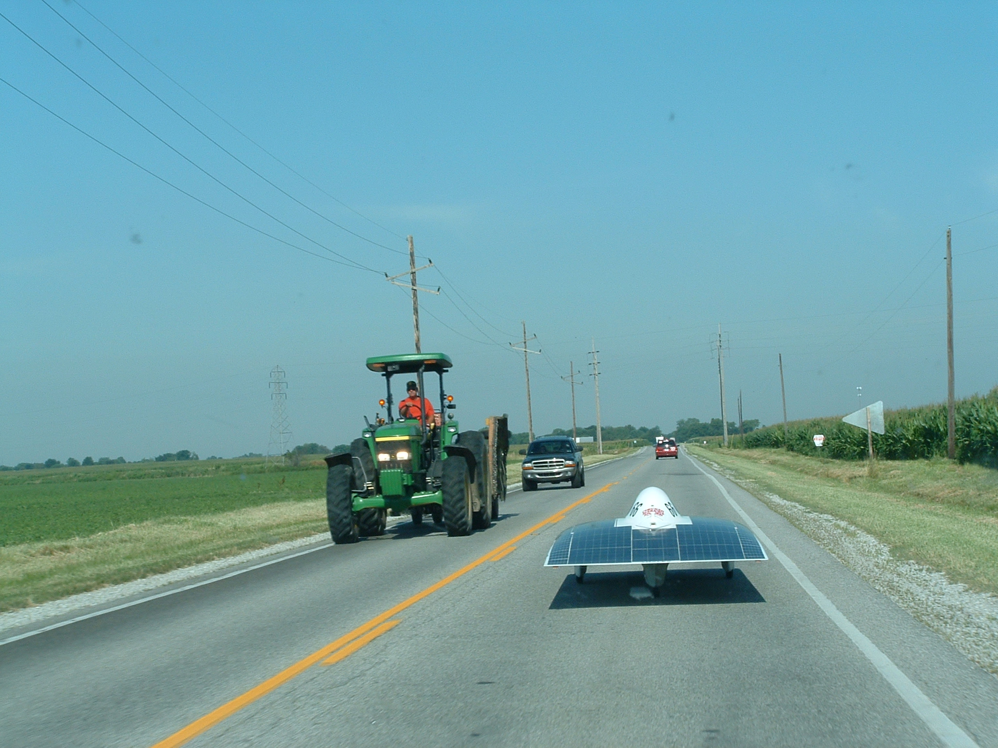 iSun snaking through farm country in the American Solar Challenge 2003.