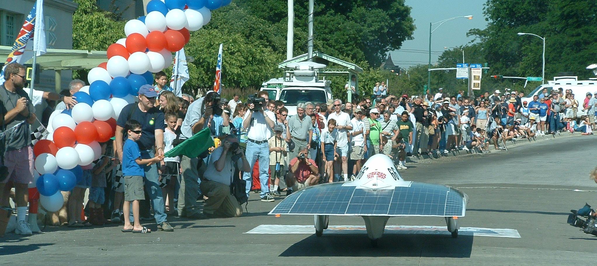 iSun crossing the starting line of American Solar Challenge 2003