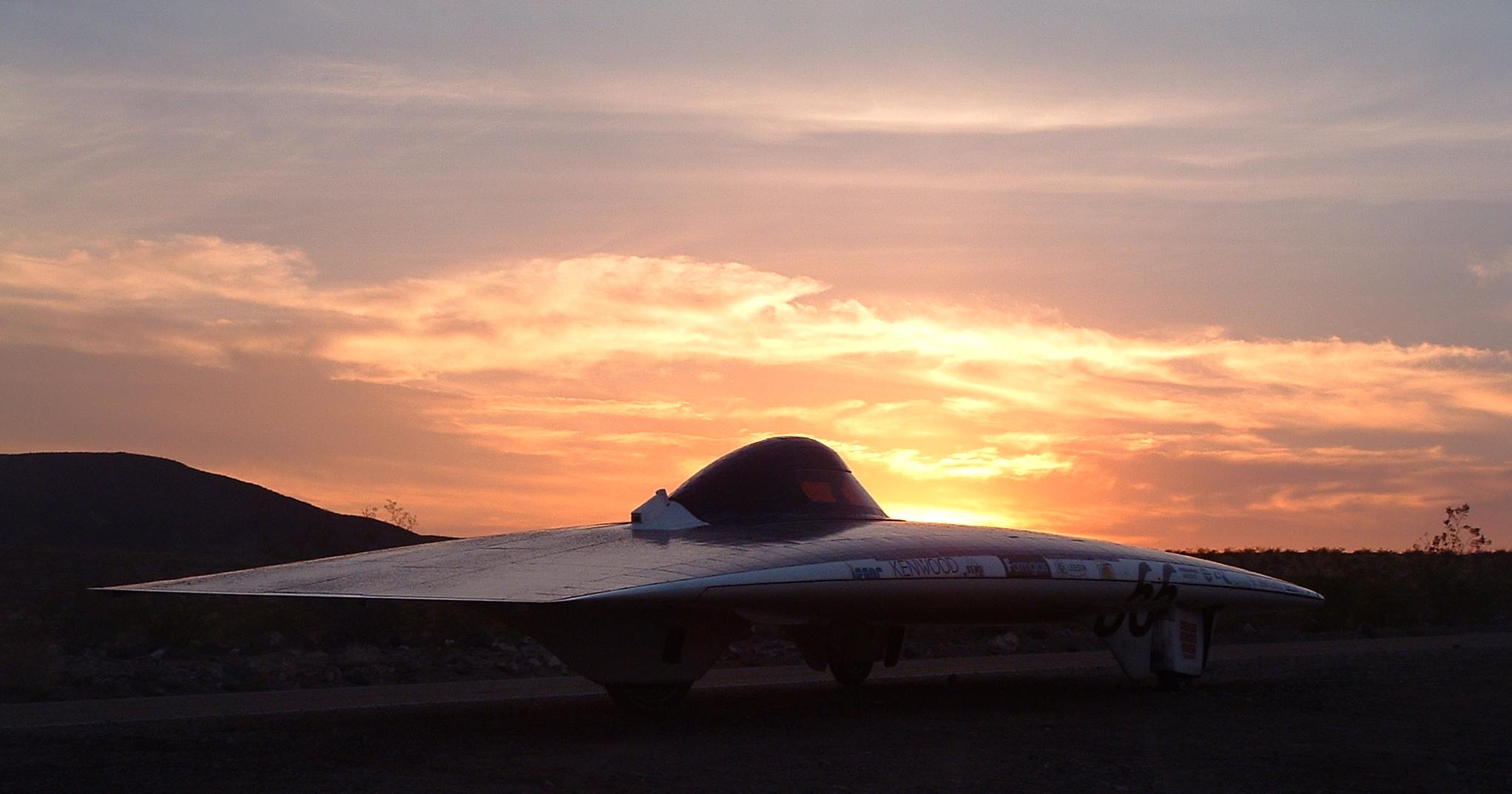 The iSun solar car in the California desert during the 2003 American Solar Challenge.