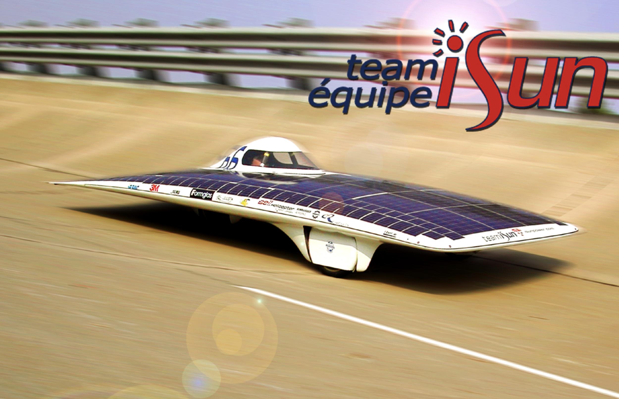 The iSun Solar car on the test track.