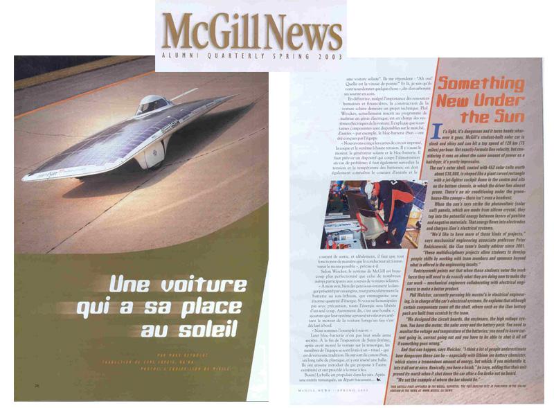 iSun solar car in McGill News.